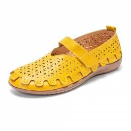 LOSTISY Zapatos planos cómodos transpirables ahuecados de cuero retro