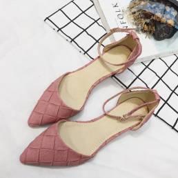 Mujer cómoda punta puntiaguda elegante tobillo hebilla correa DOrsay Flats