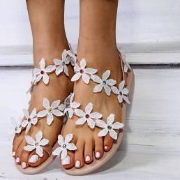 Mujeres Flor Decro Bohemia cuenta Toe Ring Casual Playa Flat Sandalias