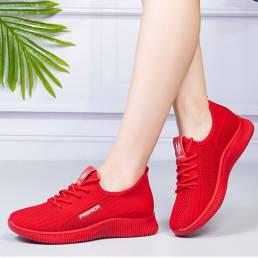 Zapatos deportivos casuales ligeros con cordones transpirables para mujer