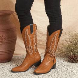 Mujer de gran tamaño con estilo Patrón Cuero Tacón grueso Deslizamiento en media pantorrilla Vaquero Botas