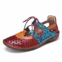 SOCOFY Bohemian Colorblock Soft Recortes de cuero Zapatos planos con cordones florales