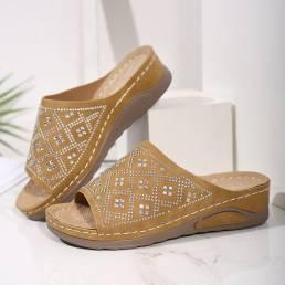 Cuñas informales cómodas y ligeras con decoración de diamantes de imitación para mujer Sandalias
