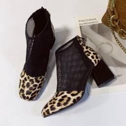 Zapatos de fiesta con punta cerrada y tacón grueso transpirable de malla informal para mujer