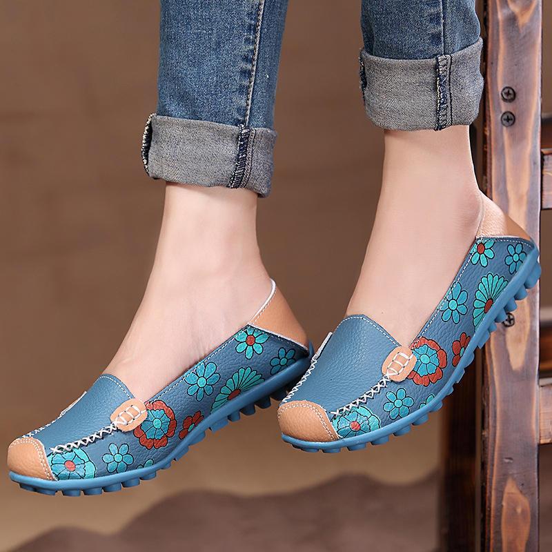 Tamaño grande Mujer Mocasines de cuero floral con flores Mocasines Planos Soft Zapatos de ballet Planos con punta redond