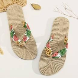 Mujeres Clip Toe Floral Masaje Suelas Playa Pisos Sandalias