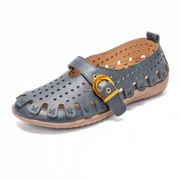 LOSTISY Retro Hollow Out Leather Transpirable Soft Zapatos planos cómodos