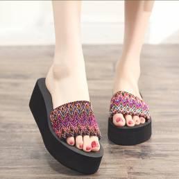 Mujer Colorful Wave Platform Open Toe zapatillas