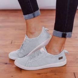 Zapatos planos de lona con cordones para mujer