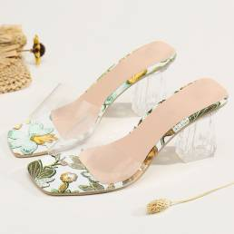 Tallas grandes Mujer Zapato de salón con tacón cuadrado con cordones transparentes zapatillas