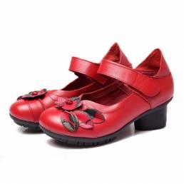 SOCOFY Leather Folkways Mid Heel Gancho Loop Original Zapatos retro cómodos