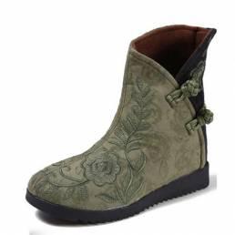 Mujer Paño de algodón bordado Botas Zapatos casuales de flores