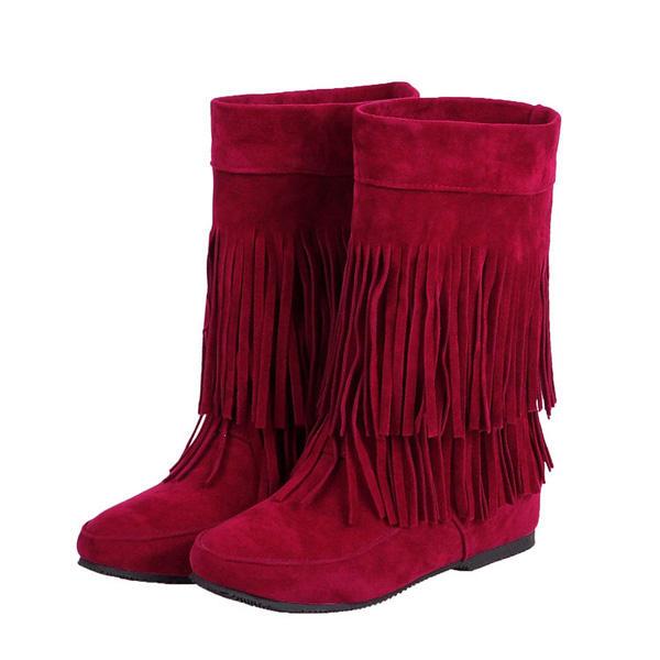 Mujer Casual Botas al aire libre Zapatos planos sin cordones con borlas y punta redonda