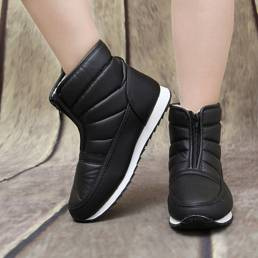 Mujer Casual Forro cálido antideslizante Impermeable Cremallera frontal Snow Botas