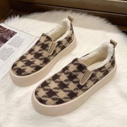 Zapatos de skate casuales de felpa con forro cálido de pata de gallo