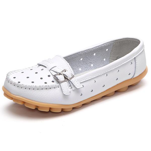 Mujeres planas ahuecan hacia fuera el calzado de cuero casual Soft en mocasines con punta redonda