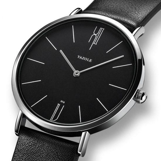 Yazole 506 hombres de moda simple dial correa de cuero vida Impermeable reloj de cuarzo de estilo elegante