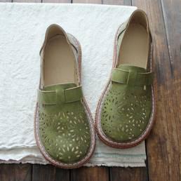 Mujeres Retro Casual Slip On Round Toe Mocasines Respirables Respirables Zapatos