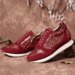 SOCOFY Zapatillas planas con cordones y cremallera de empalme con costura de cuero floral