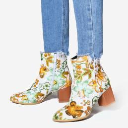 Corto de tobillo de tacón grueso con estampado de flores de gran tamaño para mujer Botas