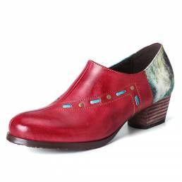 SOCOFY Retro Galaxy Patrón Cuentas de metal con costura Piel Genuina Zapatos de tacón cuadrado