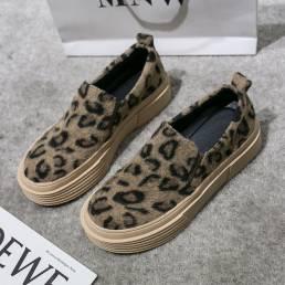 Pisos casuales cómodos antideslizantes de ante de leopardo de gran tamaño para mujer