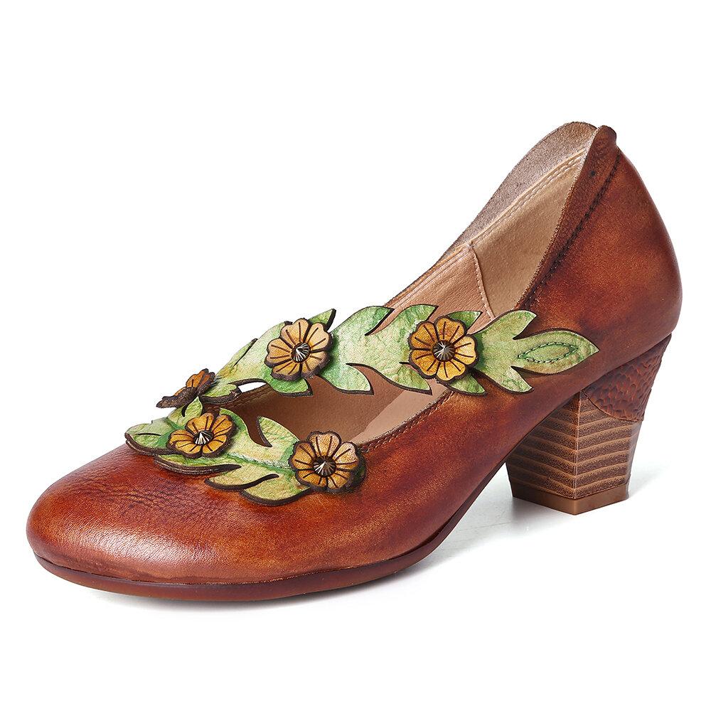 SOCOFY Mujer Decoración de flores Piel Genuina Slip On Spring Pumps