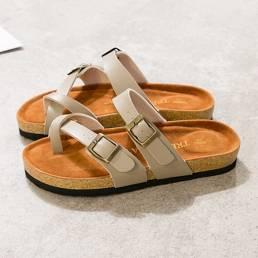 Talla grande Mujer Casual Playa Tirante con hebilla en la punta Soft Corcho zapatillas Sandalias