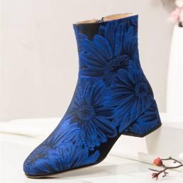 SOCOFY Moda Flores Impreso Satén Cómodo Cálido Cremallera lateral Tacón grueso Corto Botas