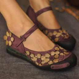 Mocasines de flores ocasionales de las mujeres Soft zapatos de los planos