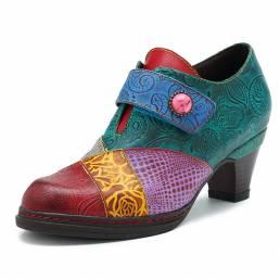 SOCOFY Zapato Retro de Patrón de Empalme de Bombas de Bucle de Gancho de Botón