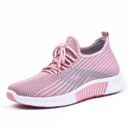 Zapatillas planas antideslizantes transpirables de malla casual Soft para mujer