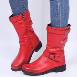 Botas de montar de tacón de bloque con correa de hebilla de color sólido retro de gran tamaño para mujer