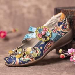 SOCOFY Retro Splicing Flowers Patrón Flat Gancho Loop Leather Shoes