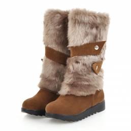 Resbalóndegrantamañoenhebilla de piel de nieve plana a media pierna Botas