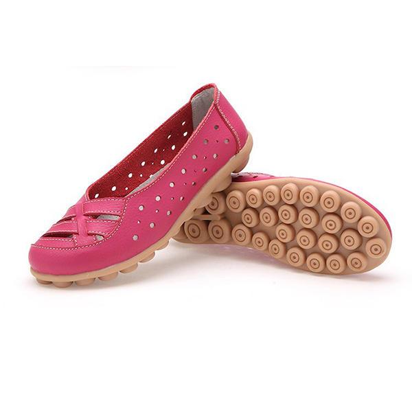 Zapatos planos para mujer Zapatos cómodos Soft Slip On Hollow Out de cuero Mocasines planos casuales