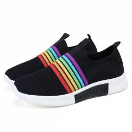 Tallas grandes Mujer Zapatos para caminar casuales transpirables de punto con rayas arcoíris