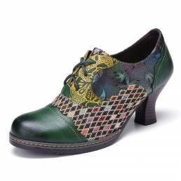 SOCOFY vendimia Zapatos de tacón grueso verdes con cordones de empalme de cuadros florales de cuero