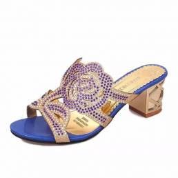 Respirable de verano Playa Sandalias Rhinestone Chic Shoes Slip On Platform Sandalias