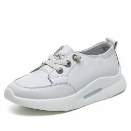 Zapatillas de deporte casuales de plataforma blanca clásica de cuero para mujer