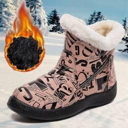 Forro cálido de punta redonda para mujer Impermeable Cremallera de tela Tobillo de nieve de gran tamaño Botas