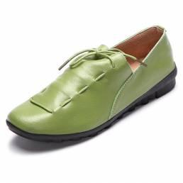 CasualcómodoencajehastaSoftcuero redondo dedo del pie holgazán zapato