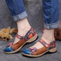 SOCOFY Retro Flower Splicing Floral Piel Genuina Gancho Zapatos planos de bucle