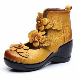 SOCOFY Mujer Piel Genuina Flower Retro Gancho Loop Platporm Zapatos