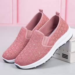 Zapatillas de deporte planas para caminar Soft de punto transpirable con diamantes de imitación casuales para mujer