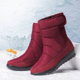 Forro cálido casual para mujer Impermeable Gancho Loop Short Calf Snow Botas
