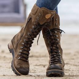 Talla grande Mujer Combate a media pierna con cremallera lateral de ante usable Botas