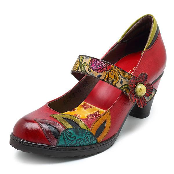 SOCOFY Zapatos de Tacón Medio de impresión con Cierre de Hebilla para Mujer