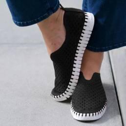 Zapatos casuales antideslizantes transpirables huecos de color sólido para mujer