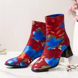 SOCOFY Moda Flores Estampado Gamuza Forro cálido Elástico Slip On Chunky Heel Short Botas